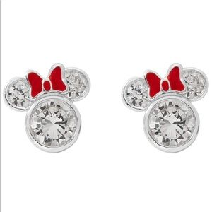 NWT Minnie Mouse Sterling Silver & Red Bow Studs